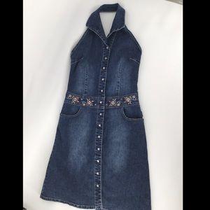Revolt Jean Co. Med. mini halter blue jean dress